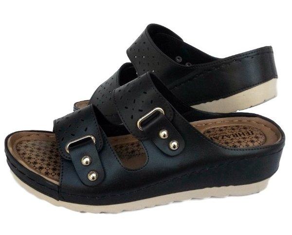 Черни дамски чехли с ортопедична стелка